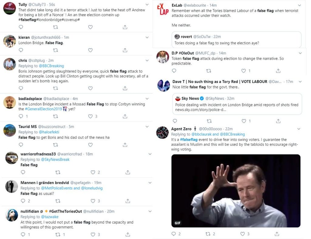 A selection of tweets from leftists claiming that the London Bridge attack was a false flag