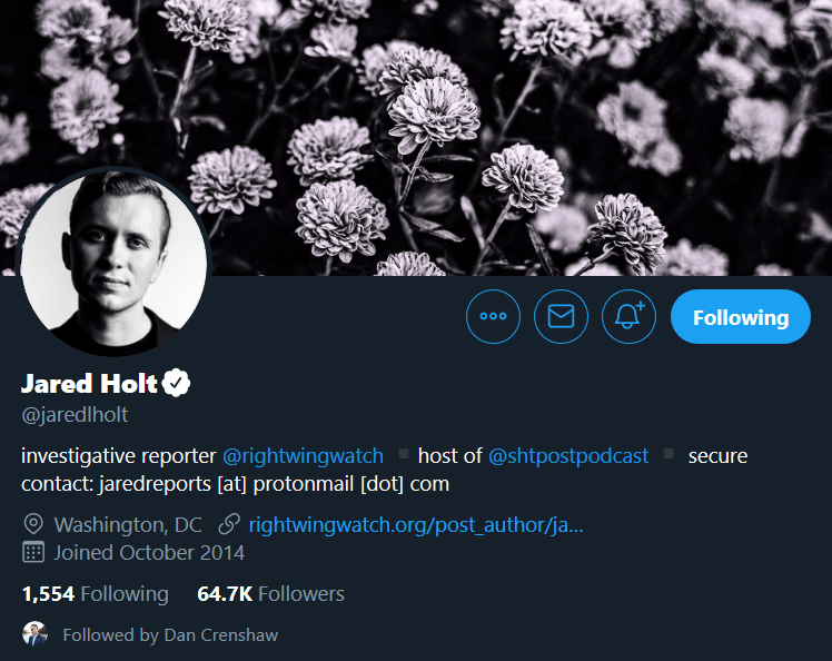 Dan Crenshaw And Right Wing Watch's Jared Holt Follow Each Other Other On Twitter