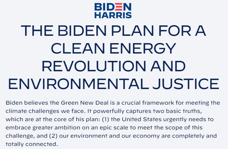 Biden Website - Energy Policy