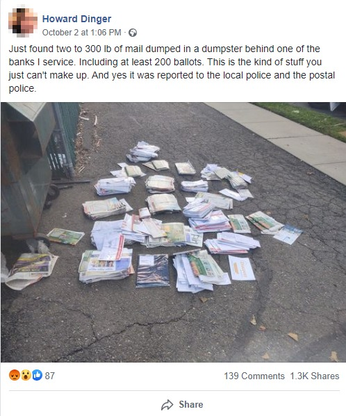 FB Screenshot Discarded Ballots/Mail