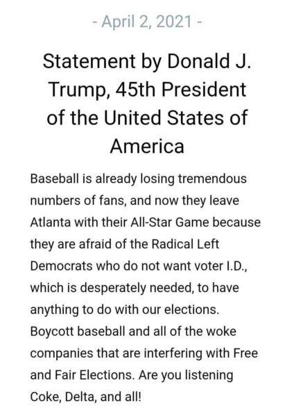 Trump MLB Boycott Statement