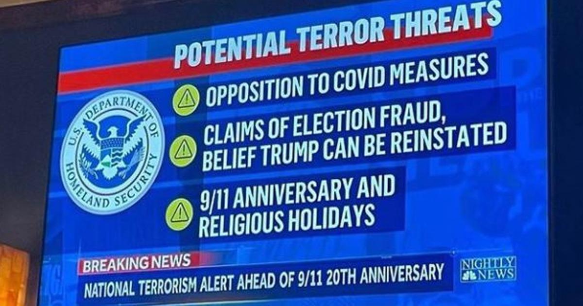 Biden Regime Says Anti-Maskers, Lockdown Resisters, And Trump Supporters Are Huge Terrorist Threat